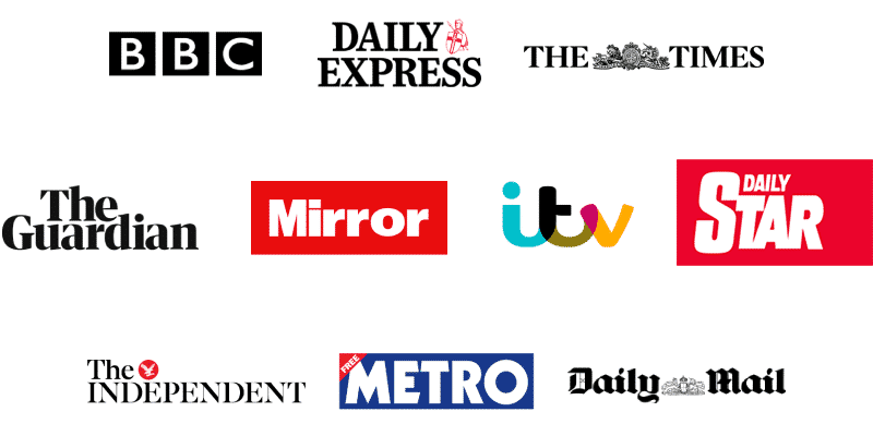 The BBC, the Daily Express, The Times, The Guardian, the Mirror, ITV, The Daily Star, The Independent, the Metro and the Daily Mail